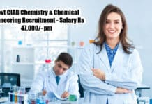 Govt CIAB Chemistry & Chemical Engineering Recruitment - Salary Rs 47,000/- pm