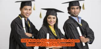 IISER Kolkata PhD Admission for Autumn Semester 2021 (DCS) Announced