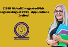 IISER Mohali Integrated PhD Program August 2021 - Applications Invited