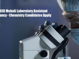 IISER Mohali Laboratory Assistant Vacancy - Chemistry Candidates Apply