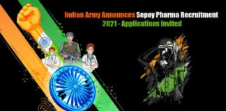 Indian Army Announces Sepoy Pharma Recruitment 2021 - Applications Invited