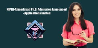 NIPER-Ahmedabad Ph.D. Admission Announced - Applications Invited