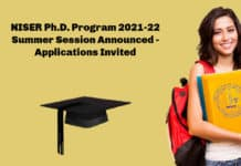 NISER Ph.D. Program 2021-22 Summer Session Announced - Applications Invited
