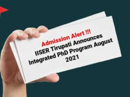 Admission Alert - IISER Tirupati Announces Integrated PhD Program August 2021