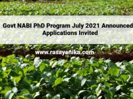 Govt NABI PhD Program July 2021 Announced - Applications Invited