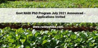 Govt NABI PhD Program July 2021 Announced - Applications Invited