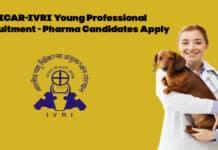 ICAR-IVRI Young Professional Recruitment - Pharma Candidates Apply