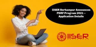 IISER Berhampur Announces PDRF Program 2021 – Application Details