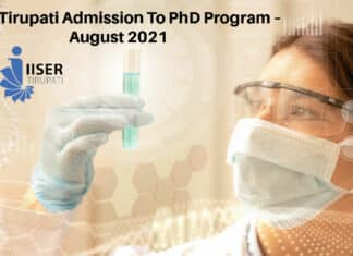 IISER Tirupati Admission To PhD Program – August 2021