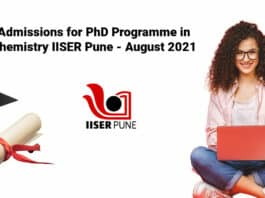 Admissions for PhD Programme in Chemistry IISER Pune - August 2021