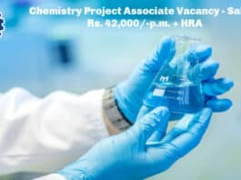 CSIR-IHBT Chemistry Project Associate Vacancy - Salary Rs. 42,000/-p.m. + HRA