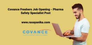 Covance Freshers Job Opening - Pharma Safety Specialist Post