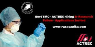 Govt TMC - ACTREC Hiring Jr Research Fellow - Applications Invited
