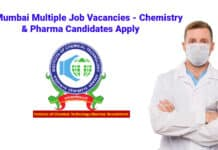 ICT Mumbai Multiple Job Vacancies - Chemistry & Pharma Candidates Apply