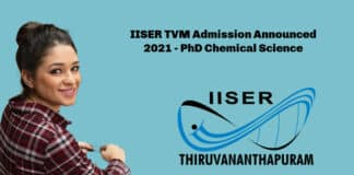 IISER TVM Admission Announced 2021 - PhD Chemical Science