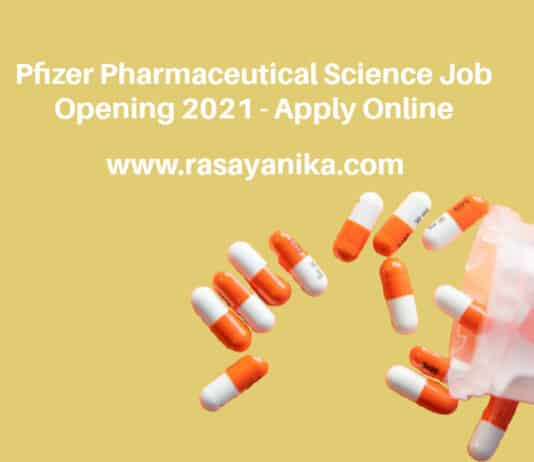 Pfizer Pharmaceutical Science Job Opening 2021 - Apply Online