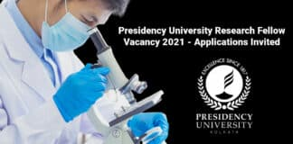 Presidency University Research Fellow Vacancy 2021 - Applications Invited