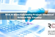 RCB JC Bose Fellowship Project - Chemical Science SRF Vacancy