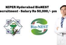 NIPER Hyderabad BioNEST Recruitment - Salary Rs 50,000/- pm
