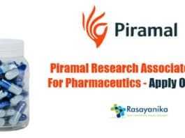 Piramal Research Associate Job