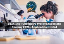 CSIR-IHBT Chemistry Project Associate Opening 2021 - Application Invited