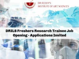 DRILS Freshers Research Trainee Job Opening - Applications Invited