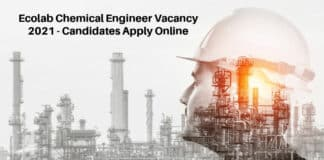 Ecolab Chemical Engineer Vacancy 2021 - Candidates Apply Online