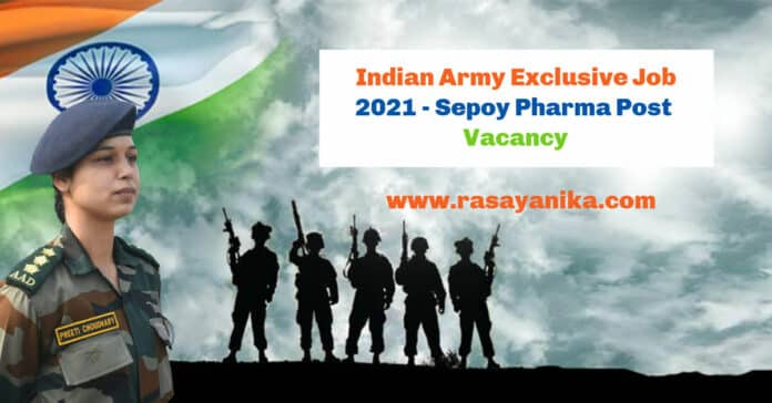 Indian Army Exclusive Job 2021 - Sepoy Pharma Post Vacancy