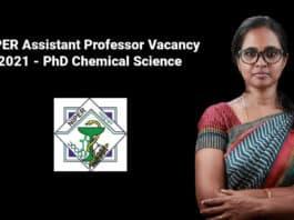 NIPER Assistant Professor Vacancy 2021 - PhD Chemical Science
