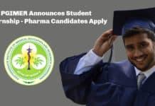 PGIMER Announces Student Internship - Pharma Candidates Apply