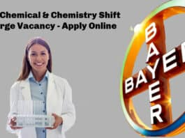 Bayer Chemical & Chemistry Shift Incharge Vacancy - Apply Online