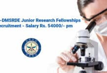 DRDO-DMSRDE Junior Research Fellowships Recruitment - Salary Rs. 54000_- pm