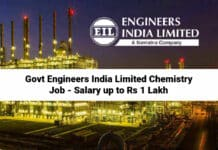 Govt Engineers India Limited Chemistry Job - Salary up to Rs 1 Lakh