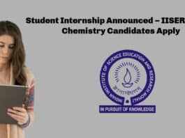 Student Internship Announced – IISER Mohali Chemistry Candidates Apply