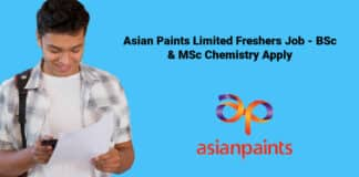 Asian Paints Limited Freshers Job - BSc & MSc Chemistry Apply
