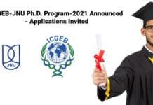 ICGEB-JNU Ph.D. Program-2021 Announced - Applications Invited