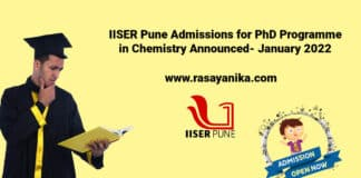 IISER Pune Admissions for PhD Programme in Chemistry - January 2022