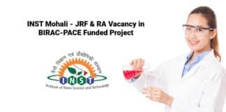 INST Mohali - JRF & RA Vacancy in BIRAC-PACE Funded Project