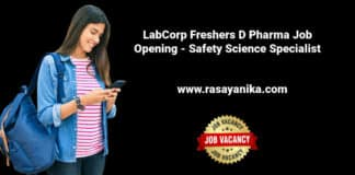 LabCorp Freshers D Pharma Job Opening - Safety Science Specialist