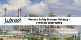 Lubrizol Process Safety Manager Vacancy - Chemical Engineering