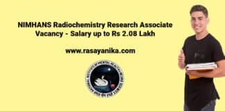 NIMHANS Radiochemistry Research Associate Vacancy - Salary up to Rs 2.08 Lakh