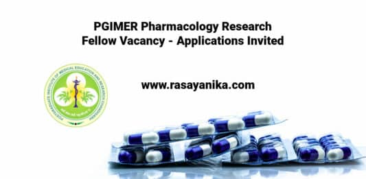 PGIMER Pharmacology Research Fellow Vacancy - Applications Invited
