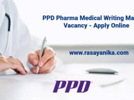 PPD Pharma Medical Writing Manager Vacancy - Apply Online