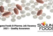 Suguna Foods B Pharma Job Vacancy 2021 - Quality Assurance