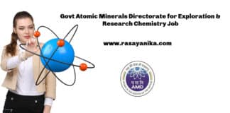 Govt Atomic Minerals Directorate for Exploration & Research Chemistry Job