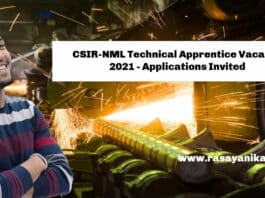 CSIR-NML Technical Apprentice Vacancy 2021 - Applications Invited