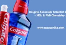 Colgate Associate Scientist Vacancy - MSc & PhD Chemistry Job