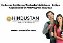 Hindustan Institute of Technology & Science - Invites Application For PhD Program Jan 2022