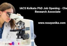 IACS Kolkata PhD Job Opening - Chemistry Research Associate