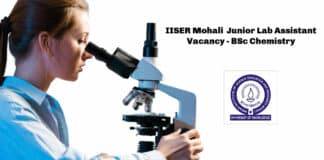 IISER Mohali Junior Lab Assistant Vacancy - BSc Chemistry